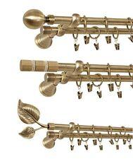 Gardinenstange Gold-Antik 120cm bis 400cm 2-läufig Ø 19mm Vorhangstange Gardine