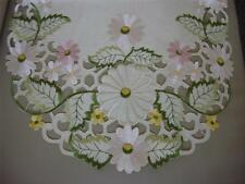 "16""x54"" Embroidered Table Runner Topper Tablecloth Spring Floral Daisy cutwork"
