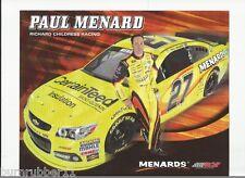 "2013 PAUL MENARD ""CERTAIN TEED"" #27 NASCAR SPRINT CUP SERIES POSTCARD"