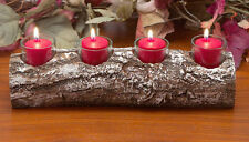 Yule log rustic 4 candle holder, wooden christmas log holder, xmas log holder