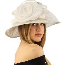 Fancy Sequins Adorn Kentucky Derby Floppy Bucket Cloche Floral Church Hat White