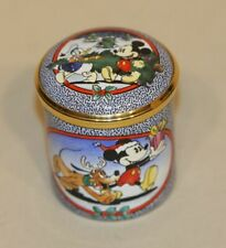 Christmas 1998 Halcyon Days Enamel Trinket Pill Box Disney Mickey 8/750 in Box
