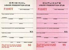 2 Prohibition Prescriptions Medicinal Liquor Stubs Whisky Antique Doctor Nurse