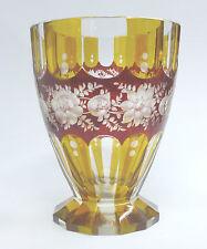 facettierte Vase # imposanter Ranftbecher # Ranftglas # Pokal # Bernstein - Rot