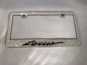 Delixike White Rhinestone Bling License Plate Frame for Women Men Luxury Handmade Thin Border Stainless Steel License Plate Frames for Front Back License