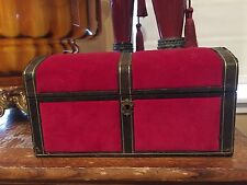 Vintage Jewelry Chest Box with Key Red Velvet