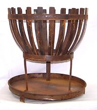 "18"" TALL METAL OUTDOOR WOOD BURNING IRON FIRE BASKET WITH FIRE PLATE PLANTER"