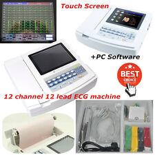 Contec Digital 3/6 Channel 12-lead ECG EKG Machine Touch Screen Software Ecg600g