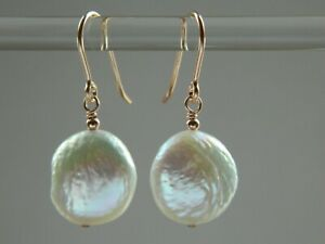 Beautiful Ivory White Freshwater Coin Pearls & Rolled Rose Gold Bridal Earrings