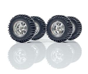 "1/64 Scale Custom Wheels - 5spk Off Road, Truck, 4x4 Rubber Tires - ""SHORT AXLE"""