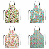 Cute Floral Corgi Printed Apron for Women with Pocket Kitchen Cooking Bib Aprons