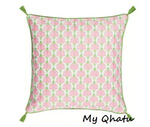 """Ikea INBJUDEN Pillow Cushion Cover 20""""x20"""" Embroidered Floral White/Pink/Green"""