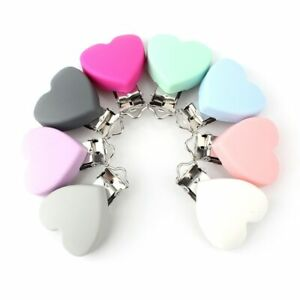 Silicone Heart Pacifier Clip BPA Free Baby Soother Dummy Chain Holder Toy Making