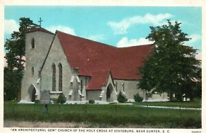 Vintage Postcard 1920's Church of the Holy Cross at Stateburg Near Sumter SC