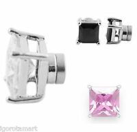 Clear Black Rose Gemed Magnetic Stud Earring Silver Crystal Square Earrings