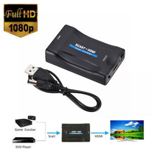 SCART to HDMI Video Audio Upscale Converter AV Signal Adapter with Power Cable