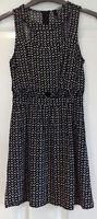 H&M cut-out, sleeveless, mini skater dress, black/white print, Size 8, used
