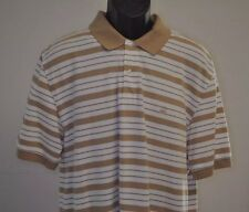 Brooks Brothers S/S Performance Polo, Cotton, White w/ Brown Stripes, Large L