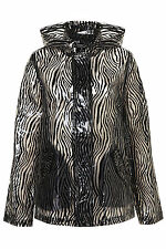 Topshop Black Zebra Print Hooded Mac Rain Coat Trench Coat UK 6 EURO 34 US 2