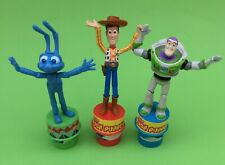 Vintage  Lot Of Three Pixar / Disney Toy Story and A Bugs Life Push Puppets