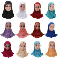Muslim Kids Girls Islamic Arab School Rhinestone Childern Headwear Hijab Scarf