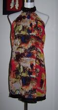 NWT $90 MISS ME 8 MULTI-COLOUR RELAXED FIT STRETCH KNIT LINED HALTER DRESS