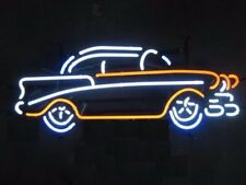 """17""""x11""""Vintage Old Car Neon Sign Light Garage Wall Hanging Real Glass Tube Art"""