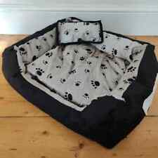 """Soft Dog Bed 21"""" x 22"""" Grey Animal Print with Removable Cover & Cushion NEW"""