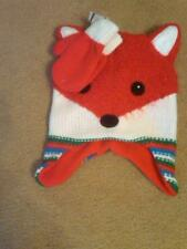 NWT TODDLER UNISEX RED AND WHITE CRITTER HAT FOX AND MITTENS SIZE 2T-5T CUTE!