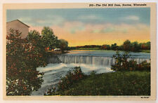 The Old Mill Dam, Racine, Wisconsin WI Postcard, Bishop Post Card Co 1939