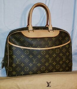 """AUTHENTIC USED ONCE LOUIS VUITTON FRANCE V10090 DEAUVILLE 14"""" TRAVEL HANDBAG"""