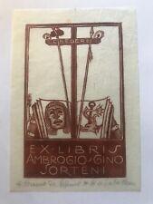 Osimo. ex libris xilografia di Bruno da Osimo per Ambrogio Gino Sorteni, firmato