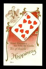 Fortune Telling Playing Card postcard Lounsbury 1907 #2037-8 Ten of Hearts