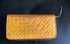Yellow Woven Leather Zip Around Clutch Wallet YKK Zipper Gross Grain 7.7x4x1""