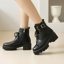Women Lace Up Ankle Boots Block Mid Heel Booties Round Toe Casual Side Zip Shoes