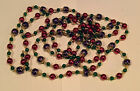 """Beaded Glass Garland Christmas Xmas Purple Red Green Gold Set of 6 106"""" Each"""