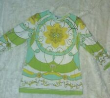 Barbara Gerwit Vintage Blue Green Yellow Floral 3/4 Sleeve Pullover Top Size L