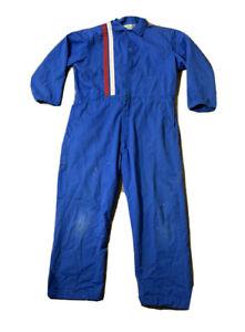 VTG 80's Pit Crew Mechanics Racing Striped Jumpsuit Coveralls Size 48 Long