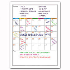 Magnetic Monthly Calendar Whiteboard For Fridge - With Groceries and Notes