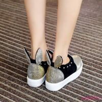 New Cute Womens Loafers Sequince Rivet Casual Sneakers Slip On Shoes Plus Size