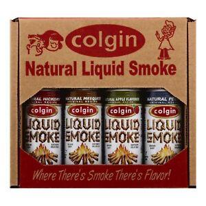 COLGIN LIQUID SMOKE GIFT - Hickory, Apple, Mesquite & Pecan - BBQ Marinade VEGAN