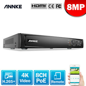 ANNKE 8CH 8MP H.265+ NVR Security POE System WDR Video Recorder HDMI VGA Network