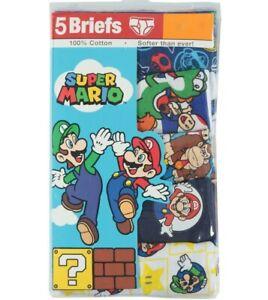 Size 4 Super Mario Brothers Cotton Boys Underwear Briefs 5 Pack - Luigi - NEW