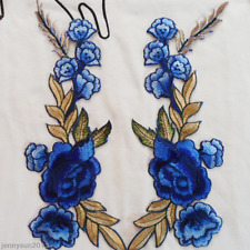 1 Pair Rose Flower Leaves Embroidery Iron On Dress Floral Applique Patches Cloth