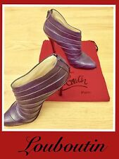 Christian Louboutin Eggplant Purple Leather RED BOTTOM ANKLE BOOTS 37.5*