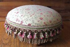 Antique Corona Decor Co Ottoman For stool pouf round floral wooden Vintage Gold