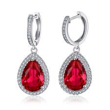 925 Sterling Ruby Zircon Silver Women Jewelry Engagement Drop Earrings SE034