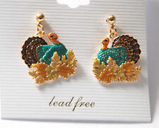 Thanksgiving Turkey & Fall Leaves Earrings / Gold-tone Dangling Post