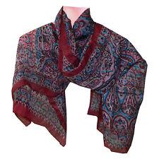 Foulard scialle indiano bordeaux motivo Paisley 100x100 cm 100% seta