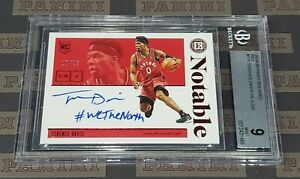 2019-20 Encased Terence Davis Notable Red Auto 18/25 Made BGS 9 Raptors